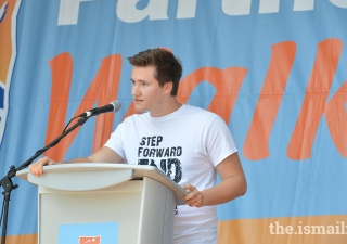 Prince Aly Muhammad speaks at the World Partnership Walk Toronto of the devastating impact of climate change.
