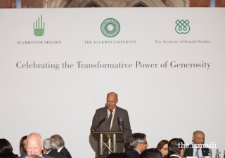 Prince Amyn delivers the keynote address during an evening reception, in which he remarked on the history of giving in the Ismaili tradition.