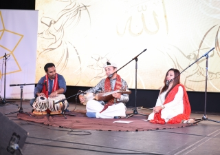 Participants collaborate their musical talents using the tabla and rabob, both instruments of Persian influence