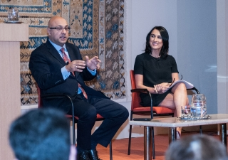 Ali Velshi responds to a question from the audience during the Ismaili Centre International Lecture with moderator Robin Gill of Global News. Sultan Baloo