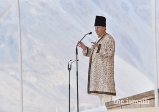 Mawlana Hazar Imam addresses the Jamat during the Diamond Jubilee Darbar at Taus, Yasin