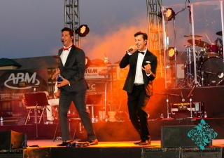 Salim and Sulaiman Merchant perform on stage at the Jubilee Concert in Houston