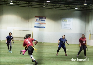 Women's flag football teams competing at the 2015 United States Ismaili Games held in Dallas, Texas.