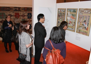 Visitors take in an exhibition on Nasir's Ethics, a manuscript in the Aga Khan Museum collection.