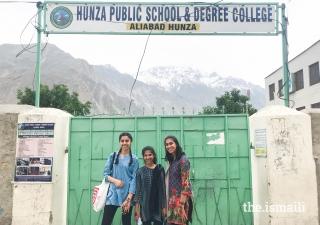 School in Aliabad where the Karmali girls taught morning sessions. (Left to right) Alizeh Karmali, Ayla Karmali, Ammana Karmali.