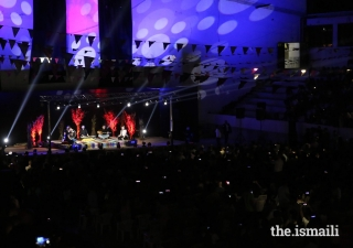 The audience enjoys a performance by Takkaat — a well-known band composed of five Ismaili artists who met through Jubilee Arts, and were part of the Syrian contingent at the International Arts Festival.