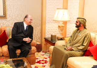 Mawlana Hazar Imam in conversation with His Highness Sheikh Mohammed bin Rashid Al Maktoum, the Vice President, Prime Minister and Ruler of Dubai.