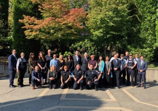Members of local law enforcement agencies in the courtyard of the Ismaili Centre, Burnaby.