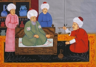 In this miniature from a 17th century Ottoman manuscript of the Canon of medicine by Avicenna, a physician prepares medicine for the treatment of patient.