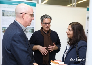 President Salima Jaffer of the Ismaili Council for Southeastern United States, Professor Sabir Khan, and Scott Marble, Chair and Professor of the School of Architecture, at the Aga Khan Award for Architecture Exhibition at Georgia Institute of Technology.