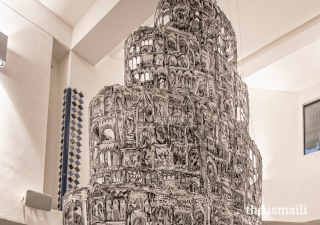 A close-up view of Kevork Mourad's six-metre high, three-dimensional artwork, entitled Seeing Through Babel.