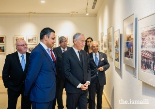 "President of the Portuguese Republic, Marcelo Rebelo de Sousa, visits the exhibition ""Ismaili Centre Lisbon: 20 Years Celebrating Pluralism"" along with guests and leaders of the Jamat and AKDN."