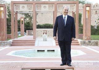 Mawlana Hazar Imam poses for a photograph at the newly inaugurated Sunder Nursery in New Delhi, India.