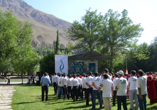 Athletes take part in the opening ceremonies of Tajikistan's National Sports Tournament. Karam-Ali Talakshi