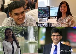 Mentors Fatimah Sorathia (top right) and Rafiq Somani (bottom right), and Mentees Ghazala Mirani (bottom left) and Rishaad Amlani (top left).
