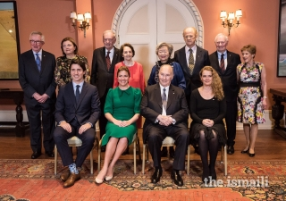 Mawlana Hazar Imam and Her Excellency Julie Payette with former Governors General Adrienne Clarkson and David Johnston, and current and former Prime Ministers Justin Trudeau, Joe Clark, and Jean Chretien, and their respective spouses at Rideau Hall.