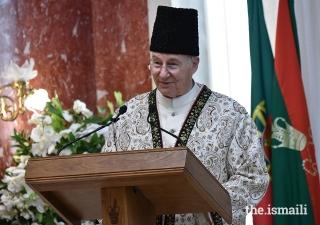 Hazar Imam discursa perante líderes do Jamat por ocasião da designação da sede do Imamat