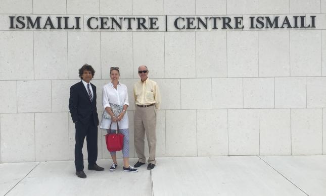 Pamela Kertland Wright, Honorary Consul for Canada in Kampala, Uganda with her father and Sadru Jetha. Courtesy of Sadru Jetha
