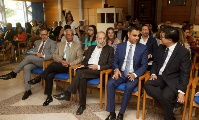 Secretary of State Miguel Honrado, AKDN Representative Nazim Ahmad, Álvaro Siza Vieira, Ismaili Council President Rahim Firozali, and Aga Khan Museum CEO Henry Kim, attend the tribute held at the Ismaili Centre Lisbon. Luís Catarino