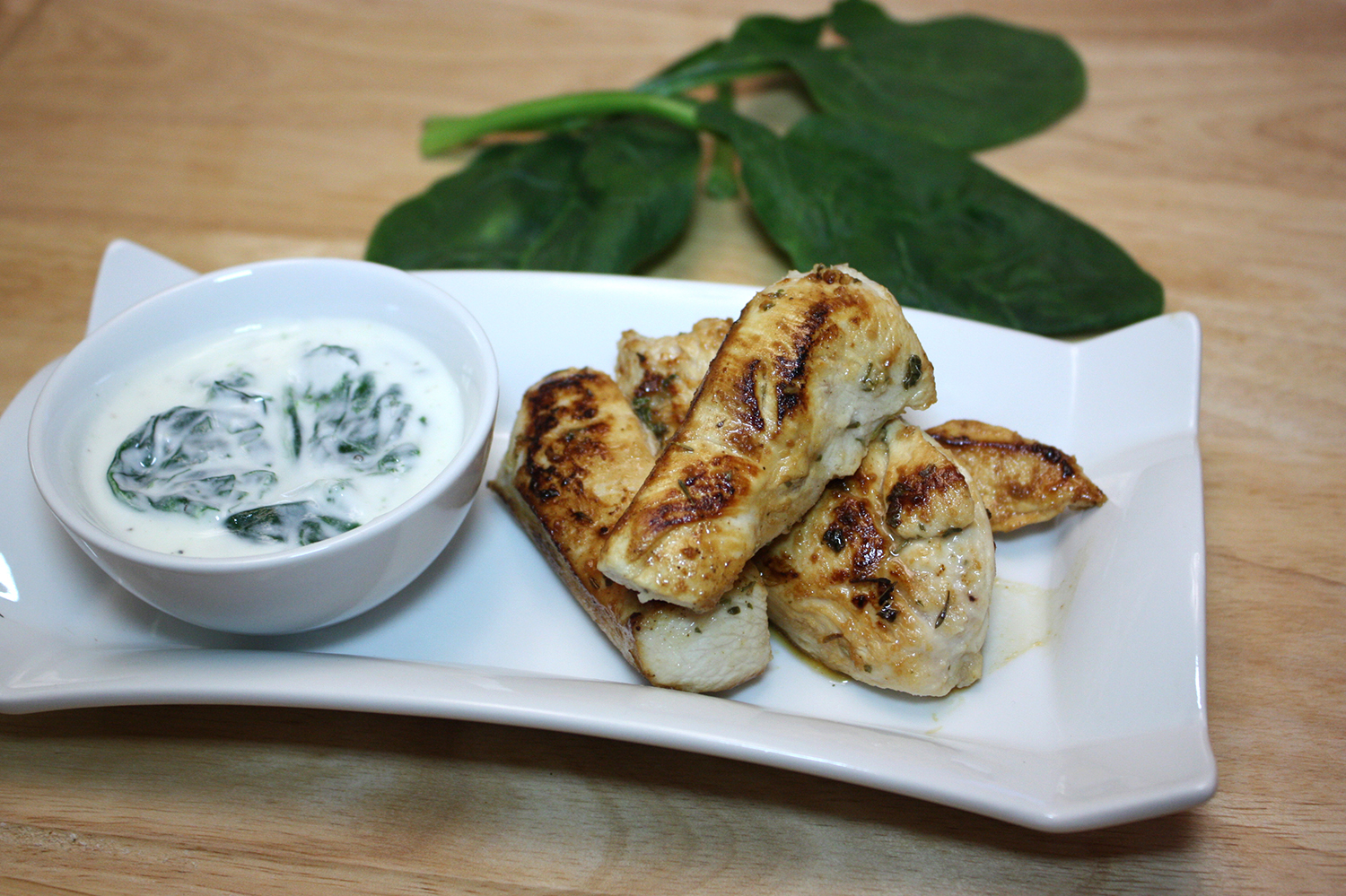 Pan Saute Tarragon Chicken with Spinach Dip